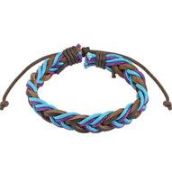 Kožený náramok pletený - hnedo-fialovo-modrý
