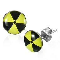 Oceľové náušnice jadrový symbol