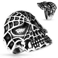 Mohutný oceľový prsteň - lebka s maskou