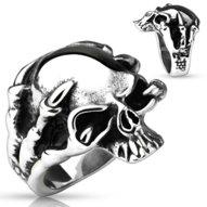 Mohutný oceľový prsteň - lebka v pazúroch