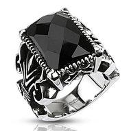Pánsky oceľový prsteň- čierny kameň
