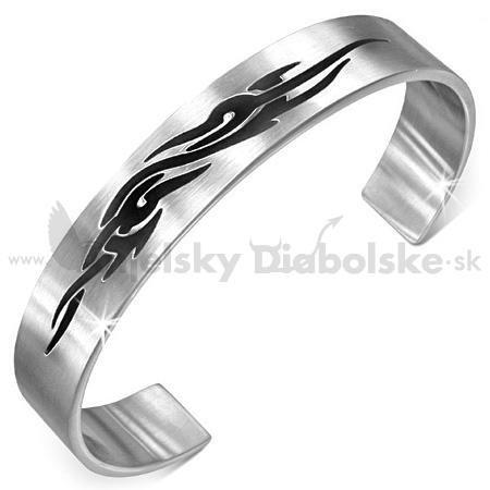 340a61c56 Pevný oceľový náramok s čiernym symbolom | Anjelskydiabolske.sk