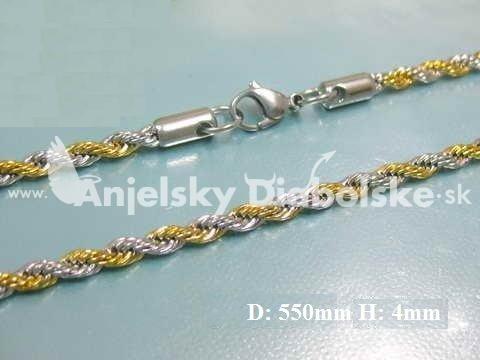 929be8888 Kombinovaná zlato strieborná oceľová retiazka hrúbka 4mm, Retiazky ...