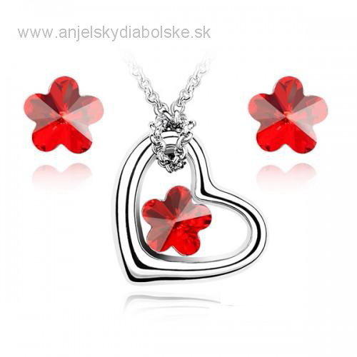 1a8a9695f Set Swarovski elements červený kryštál kvet | Šperky ...